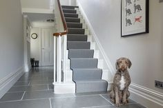 Farrow and Ball Cornforth white hallway and Strong White woodwork: Farrow and Ball Cornforth white Colour study on Modern Country Style. Click th… – hallway Cornforth White Hallway, Cornforth White Farrow And Ball, Cornforth White Living Room, Escalier Design, Hall Flooring, Modern Country Style, Hallway Designs, Small Hallways, Carpet Stairs