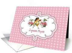 Joyeuses Pâques. Vintage Chick Design Easter Greeting Cards in French. at greetingcarduniverse.com