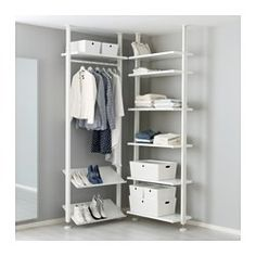 Add more storage space with ELVARLI Shelf unit, white. ELVARLI storage system adapts to your space. The open solution with durable bamboo shelves creates an attractive display of your belongings. Ikea Algot, Elvarli Ikea, Ideas Armario, Bamboo Shelf, Ceiling Materials, Plastic Shelves, Shoe Shelves, Ikea Closet Shelves, Painted Drawers