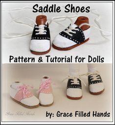 Chaussures de selle aucun coudre poupée ne chaussures modèle PDF picturale tutoriel Bratz Moxie Blythe et autres poupées de mode par Grace mains remplis