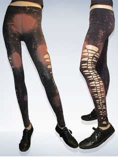 SALE Ripped Slashed Shredded   Post Apocalyptic Or Pure Black  Leggings .U Pick