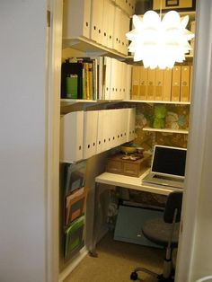 Trendy Home Office Closet Ideas Awesome Tiny Home Office, Home Office Closet, Closet Desk, Small Home Offices, Office Nook, Home Office Space, Small Office, Home Office Design, Home Office Decor