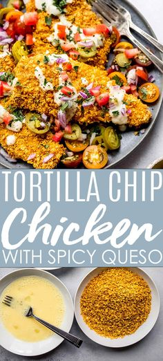Crispy Tortilla Chip Crusted Chicken with Queso Sauce is an easy delicious dinner that will be on your table in 30 minutes! // STRIPS // TENDERS //