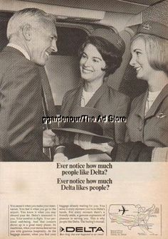 1966 Delta Airlines stewardess photo route map print ad