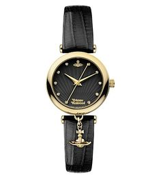 Vivienne Westwood Women's Black Water Resistant Stainless Steel And Leather Watch Vivienne Westwood Watches, Vivienne Westwood Jewellery, Gold Hands, Quartz Watch, Fashion Watches, Gold Watch, Fashion Accessories, Black Leather, Shoe Bag