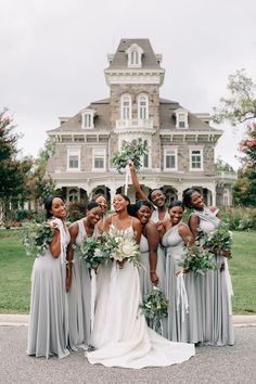 A bride and her bridesmaids celebrating a beautiful outdoor wedding in Baltimore Maryland. Chic bride in simple, elegant all ivory gown. Bridesmaids carrying all greenery bouquets made from silver dollar eucalyptus and accent flowers. Grey Bridesmaid Dresses, Best Wedding Dresses, Brides And Bridesmaids, Wedding Styles, Altar, Sage Wedding, Dream Wedding, Spring Wedding, Wedding Bells