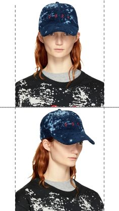 e73803c4fc4 Cotton corduroy cap in  bleach  blue. Bleach effect throughout. Logo  embroidered in red at face. Cinch strap at back.