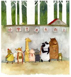 Cartoon of animals illustration by Mae Besom