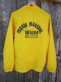 Crazy Yellow Houston Livestock Show and Rodeo Windbreaker Jacket by Auburn Sportswear, Men's L // Nylon Jacket Houston Livestock Show, Showing Livestock, Almost Always, Windbreaker Jacket, Auburn, Rodeo, Im Not Perfect, Sportswear