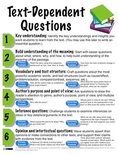 "Text-Dependent Questions:  I think this is going to be one of the harder parts if the CC for my students this year - citing evidence from the text when answering questions and to steer them away from ""I think"" and making connections answers.  I am excited to see what the kiddos are capable of!!"