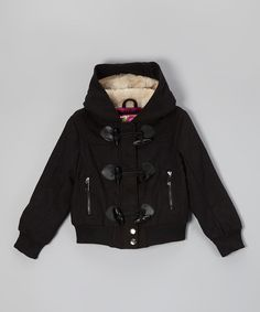 Take a look at the Black Hooded Bomber Coat - Girls on #zulily today!