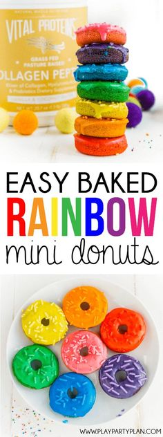 This rainbow donuts recipe is perfect for a rainbow party, St. Patrick's Day party food, or anytime you just need a little color in your life! This baked donut recipe so much easier than making a rainbow cake!