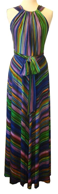 Muse : Multicolor Striped Maxi Dress With Tie Belt