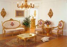 GOLD ROOM | Antique Gold Leaf Living Room Furniture
