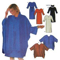 Easy Womens Cape and Dress Sewing Pattern - Fall Fashion - Simplicity 9870 - Petite Size 6 8 10 12 - Uncut Pattern Notch neckline