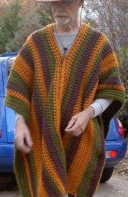 Man crochet striped poncho