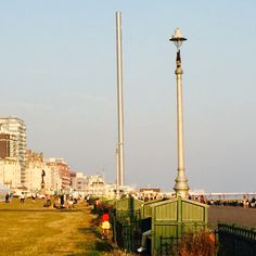 Twin poles on Hove seafront (one the i360) on hazy summer evening. 25.08.2016