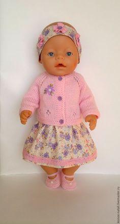 Купить Комплект с платьем для беби бон - розовый, одежда для беби бон, платье для беби бон