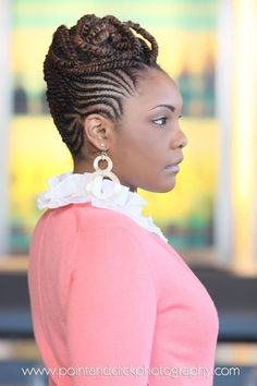 Natural Hair Braided into Updo | Cornrows and Twists | Black Women Natural Hairstyles