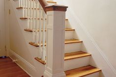 In this how-to video, This Old House general contractor Tom Silva installs a staircase handrail Staircase Handrail, House Staircase, Curved Staircase, Banisters, Stair Railing, Railings, Banister Ideas, Stair Risers, Cottage Stairs