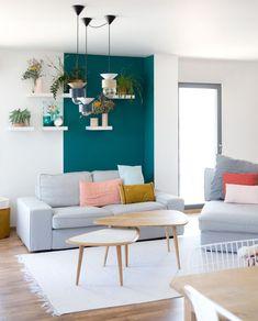 Bleu turquoise et gris en 30 idées de peinture et décoration | déco ...