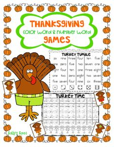 Thanksgiving Color Word & Number Word Games These games work on recognizing number and color words There are 2 games in this pack. One with color words and one with number words. They can either be played in a small group as a game or individually. Color Word Activities, Word Games, Number Words, Turkey Time, Small Groups, Numbers, Thanksgiving, Child, Education