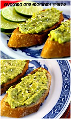 Avocado and edamame spread on toast #vegan #appetizer