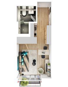 """Beispiel Grundriss Boarding-Apartment-Studio """"K"""" mit Badvariante"""