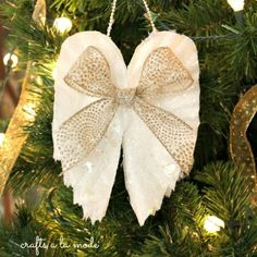 I made these angel wings ornaments from coffee filters! Very easy and economical.