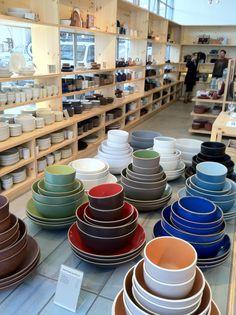 Tableware at Heath Ceramic's new tile showroom in SF