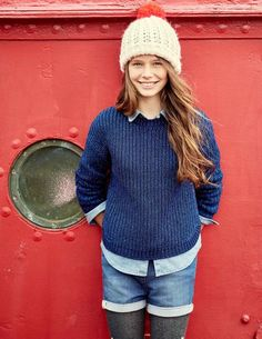 Sparkle Rib Sweater, Cable Bobble Hat, Mid Vintage Shirt, & High Waisted Shorts | Mini Boden