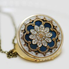 Locket,blue locket,filigree locket ,resin locket,Bridal Necklace ,bridesmaid gift ,Wedding Necklace,Something Blue,Vintage Locket. $69.99, via Etsy.