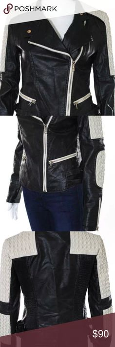 Ann Christine Leather Jacket Black and Off White Zip Up Jackets Ann Christine Jackets & Coats