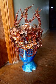 Woodland Faery Crown Copper Autumn Festival Secret Garden Party Burning Man