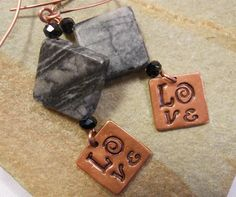 copper and marble Love earrings
