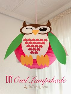 DIY. Owl Lampshade Decoration Tutorial with Free Printable