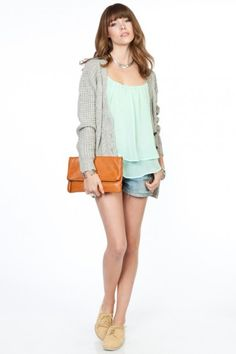 the mint chiffon tank top. the whole outfit is cute.
