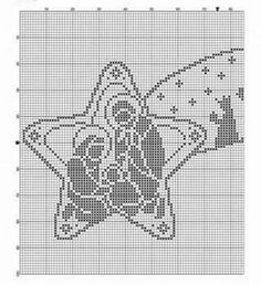 KUFER with artistic craft: knitting Christmas decorations Filet Crochet Charts, Crochet Motif, Crochet Doilies, Crochet Patterns, Crochet Christmas Ornaments, Holiday Crochet, Christmas Embroidery, Christmas Decorations, Xmas Cross Stitch