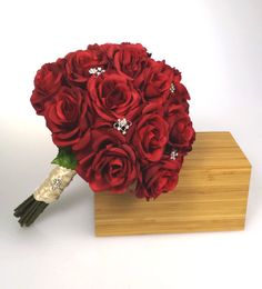 Two dozen red Rose bridal bouquet  http://www.etsy.com/listing/159648972/beautiful-red-rose-bridal-bouquet-with