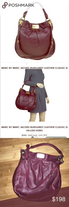 """Authentic Marc Jacobs 100% cow leather bag Authentic 100% cow leather Marc by Marc Jacobs burgundy crossbody hobo bag. Bag itself looks great no big flaws showing. Inside is super clean. Some teeny tiny wears here and there but not something big that can capture in pictures. More pix on request. Silver hardware, stock pictures shows gold. 14""""x14"""". Magnetic closure. Marc by Marc Jacobs Bags Hobos"""