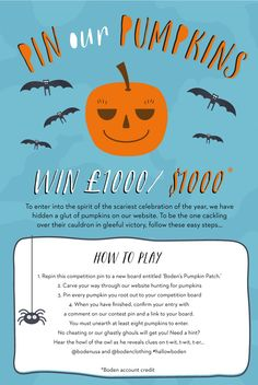 Hunt the glut of Halloween pumpkins hiding on our website  to bag a spook-tacular prize! For how to play, click here > www.boden.co.uk/pinourpumpkins