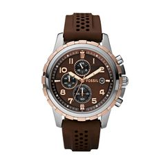 FOSSIL® Watch Styles Sport Watches:Men Dean Silicone Watch-Brown FS4612