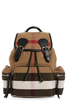 6f7badf55ee Burberry Medium Canvas Backpack Smooth Leather