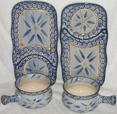 Perfect Set Sandwich Soup Bowl Crock Temp tations Old World Blue Design Nice   eBay