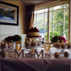 The final touch to a great wedding arrangement is a wonderful cake setup at Gougane Barra Hotel, Ireland #vintage #wedding #gouganebarra #romantic