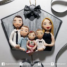 original family portrait by flipperandme with Polymer Clay Disney, Polymer Clay Crafts, Pet Rocks Craft, Baby Frame, Mug Art, Clay Baby, Clay Dolls, Rock Crafts, Bottle Art