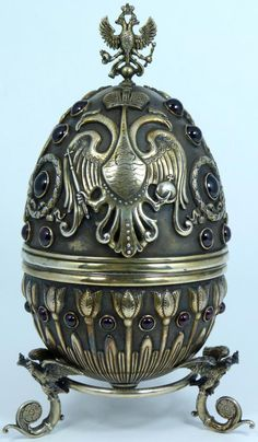 russian silver jeweled double eagle egg finely crafted russian silver