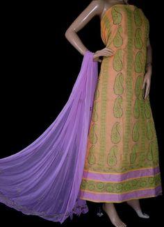 ISHIEQA's Yellow Cotton Chikankari Dress Material-KL0205C Kurta Designs Women, Anarkali Dress, Green Cotton, Cotton Dresses, Chiffon, Morning Flowers, Pure Products, Fashion Outfits, Silk