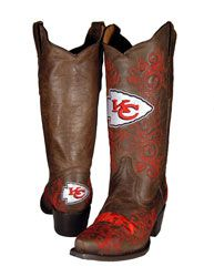 I'd love to have a pair of these but the price tag seems a little steep to me!Kansas City Chiefs Women's Embroidered Western Boot $299.99 http://shop.kcchiefs.com/Kansas-City-Chiefs-Womens-Embroidered-Western-Boot-_1499135335_PD.html?social=pinterest_pfid47-36309