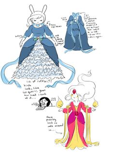 Adventure Time costume explanations for Fiona and Flame Princess from the always incredible Natasha Allegri (http://natazilla.tumblr.com/)
